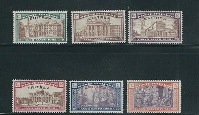 ERITREA 1925 HOLY YEAR issue from ITALY overprinted (Sc B5-B10) VF MLH