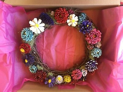handmade pine cone flower wreath