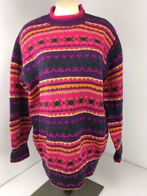 1f0394a3bc3 Vintage 80s United Colors of Benetton NORDIC Cable Knit Sweater Wool BRIGHT  Sz L