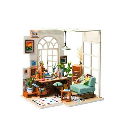 DIY Wooden Toy Miniature House With Furniture Kit LED Light Dollhouse Peace New