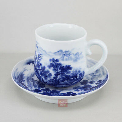 Hand painted landscape Chinese Blue and white porcelain coffee cup with Saucer