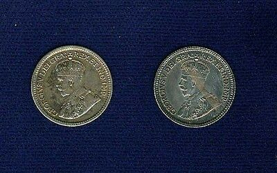 Canada George V 1912/1914 5 Cents Silver Coins Almost Uncirculated/uncirculated