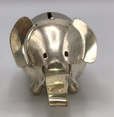 Vintage NAPIER Silver Plated Elephant Bank, Modernist, Signed