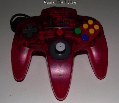 Aftermarket ASCII Nintendo 64 N64 Clear Red/Pink Controller Refurbed Toggle