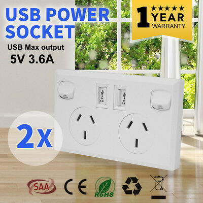 2 x 10A Double USB Power Point Supply 2 Socket Switch Wall Plug White 5V
