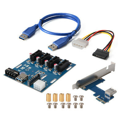 PCI-E 1X to 3 Port / 4 Port Multiplier Hub Riser Card + Connector + USB Cable