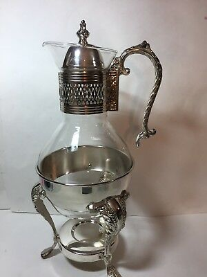 VINTAGE BRIGHT SILVER PLATE Coffee Tea Carafe Tea Light Candle Corning Brand