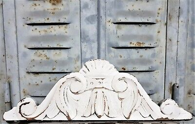 """Shabby Painted Architectural Pediment 13""""3 Antique French Hand Carved Wood Crown"""