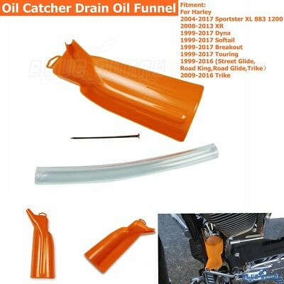 1X Orange Oil Catcher Drain Oil Funnel Set For Harley 99-17 Dyna 99-16 Touring