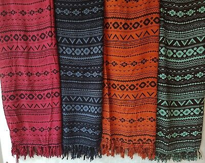 Aztec Print Sarong with Fringe - Various Colours. Tablecloth / Furniture cover
