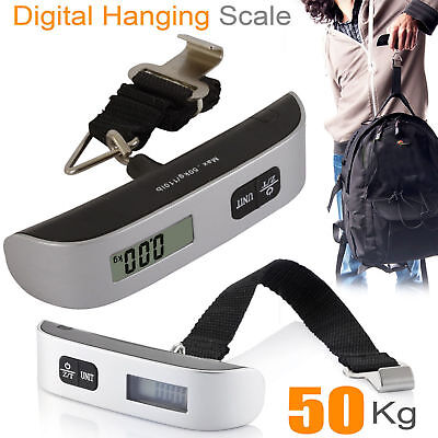 50kg portable electronic digital weighing scale handheld travel suitcase ^Ascle