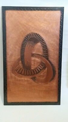 Mid Century 70s Retro 'Infinity' Beaten Copper Wall Art, Signed by Artist!