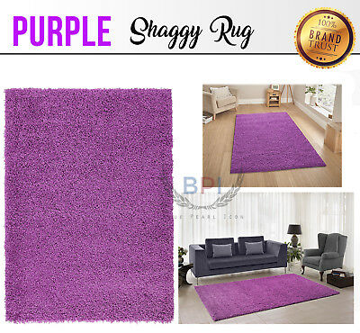 2018 Large Shaggy Floor Rug Plain Soft Purple Color Area Mat Thick Pile Rugs New