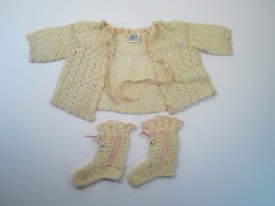 Vintage Columbia Hand Knit Baby Sweater and Booties Pink Embroidered Flowers