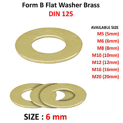 6mm M6 FORM B FLAT WASHERS BRASS THIN WASHER DIN 125