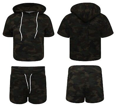 Ladies Army Camouflage Short Tracksuit Womens Girls Shorts Cropped Hooded Bottom