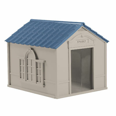 Suncast DH350 Deluxe Weatherproof Snap Together Resin Large Dog House, Gray