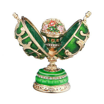 Decorative Faberge Egg with Basket of Flowers 2.9'' (7.4 cm) green