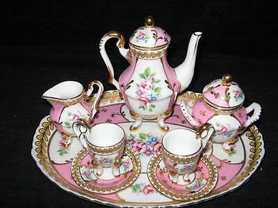 """NEW FRENCH SEVRES  """"VERSAILLES""""  CHILD'S PINK & GOLD TEA SET w/UNDERPLATE"""