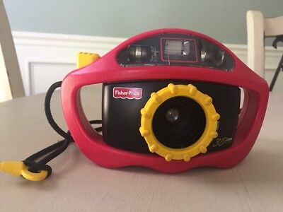 Fisher Price Perfect Shot Red Yellow 35mm Film Camera 1997 w/ Strap