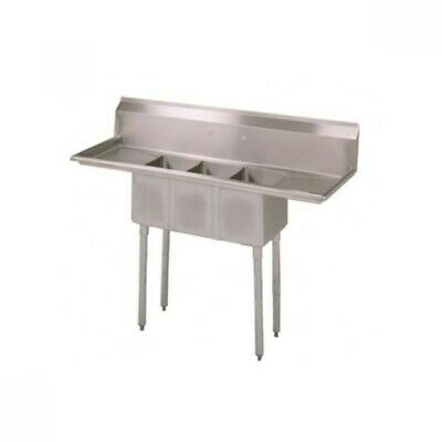 "BK BKS-3-1014-10-15T 3 Compartment Sink w/15"" Left and Right Drainboard 