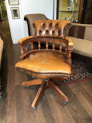 Tan Leather Buttoned Back Desk Chair.