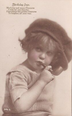 Yp    134   Young Child Smoking A Pipe. Birthday Card
