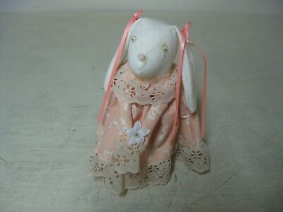Vintage Sewn Peach And Whte Bunny Rabbit Figure