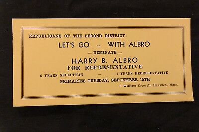 Blotter Rep Harry B Albro Harwich MA Order of Red Men Incohonee Cape Cod Basebal