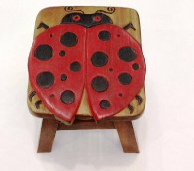 New Wooden Hand Carved Painted Footstool Foot Stool Lady Bug Lady Bug