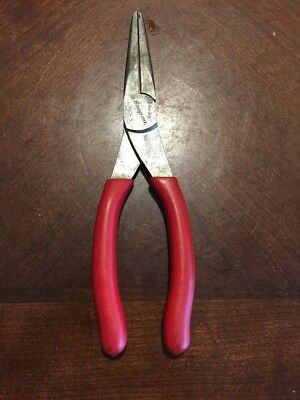 """Snap On Tool US 8""""Long Talon Soft Grip Needle Nose Pliers Red Handle ROUNDED JAW"""