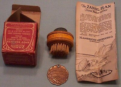 Antique Zanol Watch Fob And Zanol Spot Remover Brush With Box And Brochure