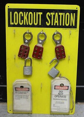 "W.H. Bradley Co Lockout Station Safety Board Danger Tags Pad Locks 12X19""   (H)"