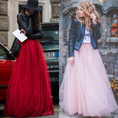 """6 Layers 39"""" Maxi Women Tulle Skirts Long Celebrity Skirt Ball Gown Plus Size"""