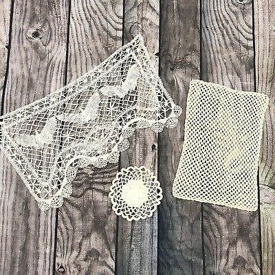 Vintage 1970s Doilies Lot Of 3 Butterfly Macrame Small Rectangle White Handmade