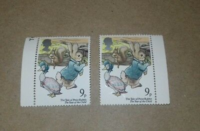 2 x Unused 9p stamp Tale Peter Rabbit Year of the Child 1979 Beatrix Potter