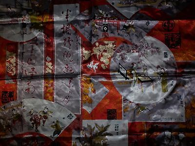 Vintage  Chinese Motif  Print  Scarf Good Condition
