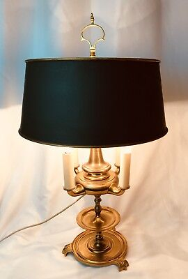 UNIQUE Vtg Antique Brass 4 Candle Bouillotte Table Lamp Green Metal Tole Shade