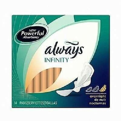 Always Infinity Pads w/ Wings, Overnight, 14 Ct (24 Pack)