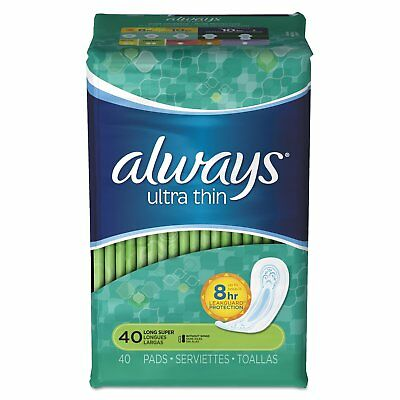Always Ultra Thin Pads, Long Super, 40 Ct (6 Pack)
