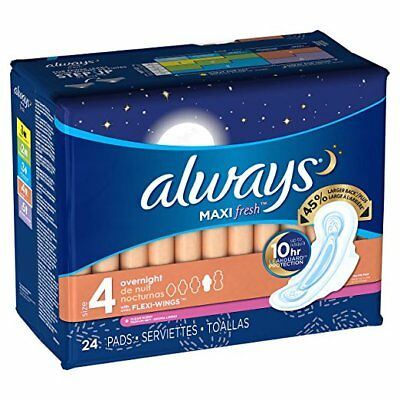 Always Maxi Fresh Pads w/ Wings, Overnight, 24 Ct (6 Pack)