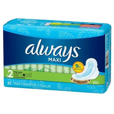 Always Maxi Pads w/ Wings, Long Super, 32 Ct (6 Pack)