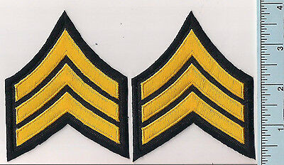 Two NEW Light Gold/Black Police Sergeant Rank Patches 3-Stripe Chevron LASD Type