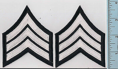 Two NEW White/Black Police Sergeant Rank Patches 3-Stripe Chevrons High Quality
