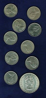 Bermuda  1970-1981  25 Cent (9) & 1964 Silver Crown coins, Group lot of (10)