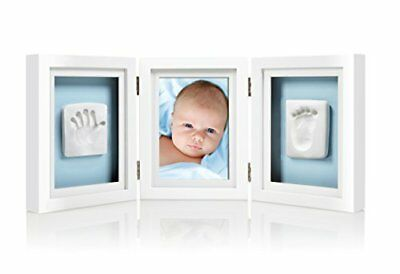 babyprints newborn baby handprint and footprint deluxe desk photo frame &