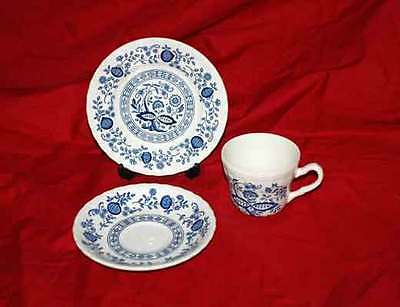 (1) Wedgwood China Blue Heritage Trio, Cup, Saucer and Dessert Plate