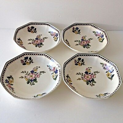 Antique Royal Doulton China Bowls D4051 Octagonal 4 Hand Painted Floral 1912-22