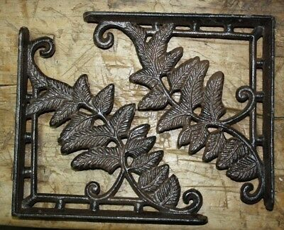 2 Cast Iron Antique Style IVY Brackets Garden Braces Shelf Bracket HD Vine FERN