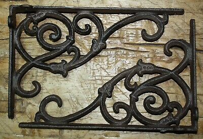 6 Cast Iron Antique Style IVY VINE Brackets Garden Braces Shelf Bracket Scroll